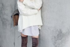 08 brown suede tall boots, a striped shirt dress and a creamy sweater on top for a cozy layered look