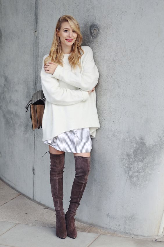 brown suede tall boots, a striped shirt dress and a creamy sweater on top for a cozy layered look
