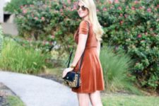 09 a bunrt orange velvet dress shows off two trends – the trendiest fall color and the trendiest fabric