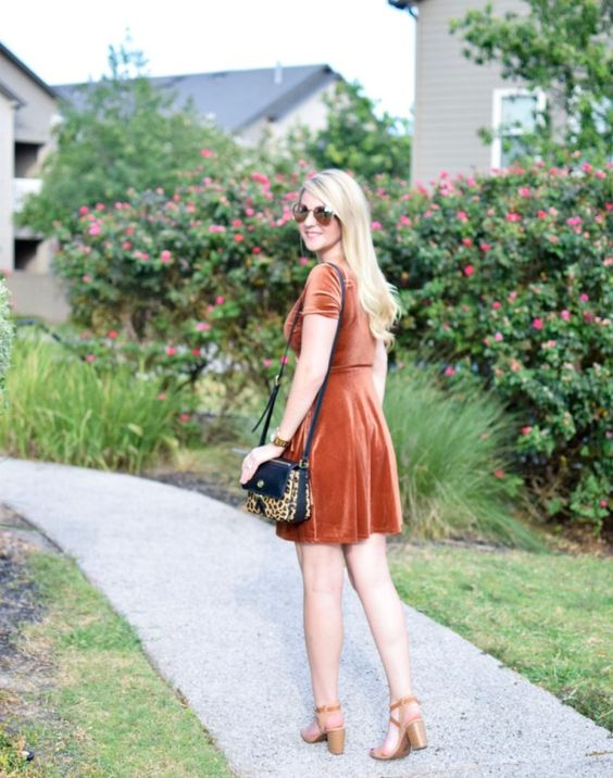 a bunrt orange velvet dress shows off two trends - the trendiest fall color and the trendiest fabric