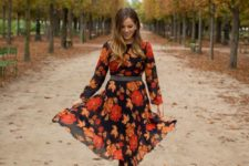 09 a fall-colored floral dress with long sleeves and brown suede tall boots – nothign else is needed