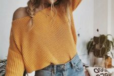 09 a mustard off the shoulder sweater and jeans for an effortlessly chic look with a fall feel
