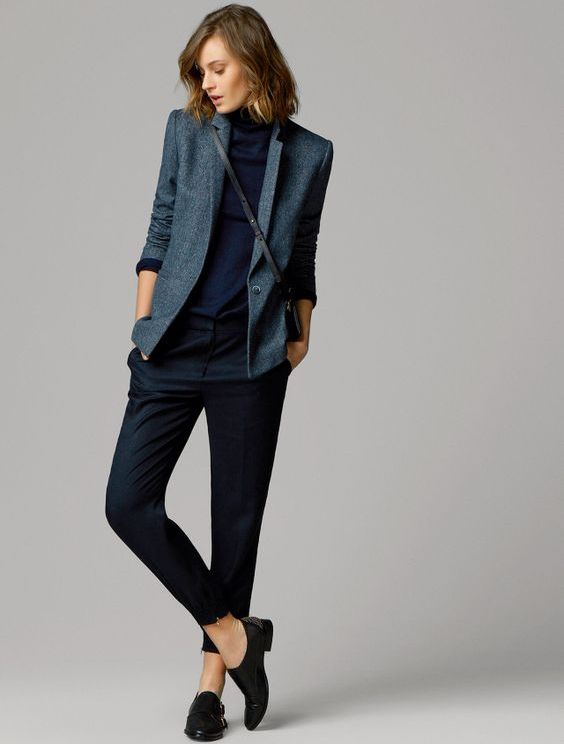 black cigarette pants, a navy turtleneck, a grey blazer, flats to wear to work