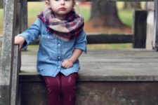 10 a chambray shirt, burgundy pants, amber suede boots and a plaid infinity scarf