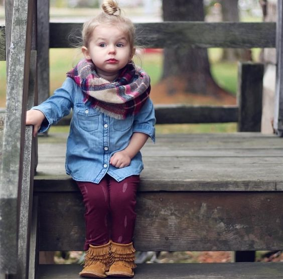 a chambray shirt, burgundy pants, amber suede boots and a plaid infinity scarf