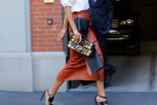 10 a cognac brown leather midi skirt, a white shirt and black strappy heels to wear right now