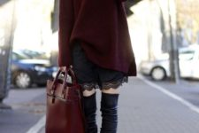 10 a plum oversized sweater, a large red bag, a black lace dress and black leather boots