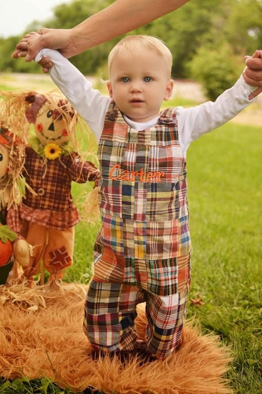 a cool checked overall in fall colors and a white shirt for a boy is a gorgeous and comfy idea