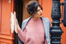 11 a creamy midi skirt, a pink sweater, a grey coat over it
