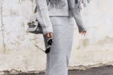 12 a grey midi skirt, a grey sweater, a grey scarf, white sneakers and a grey bag for a comfy look