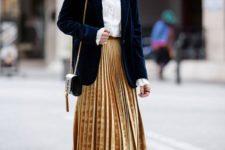 12 a yellow velvet midi skirt, a white shirt, a navy velvet blazer and velvet booties for a chic winter look