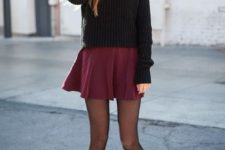 13 a black slouchy sweater, a burgundy skater skirt, black tights and black suede boots