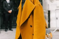 13 a mustard oversized coat looks very fall-like and trendy