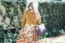 13 a mustard sweater, a floral pleated midi skirt, a lavender bag and shoes for a comfy look