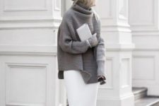 13 a white midi skirt, a slouchy grey turtleneck sweater, black elather sock boots