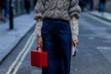 14 a navy velvet midi skirt, a grey sweater over a lace shirt, white sneakers and a red bag