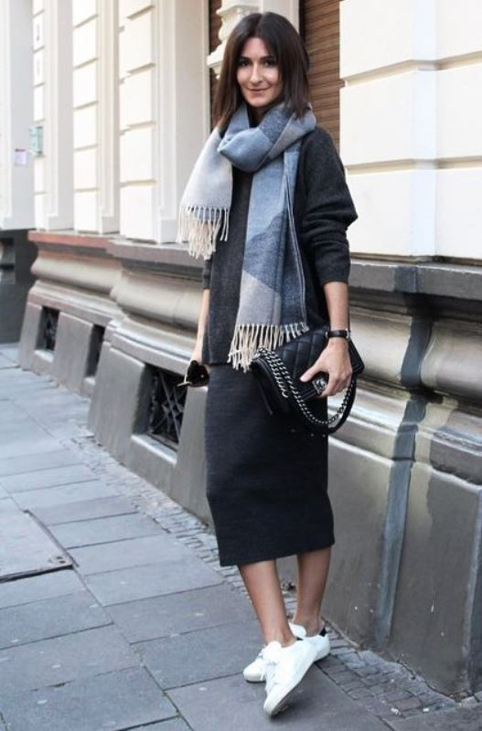 dcadb565 a black oversized sweater, a black midi skirt, white sneakers and a comfy  scarf