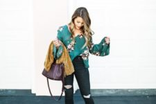 15 black ripped jeans, an emerald floral shirt, a mustard cardigan and neutral peep toe booties
