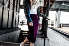 16 a white tee, a plum-colored pencil midi skirt, a black leather jacket and white sneakers
