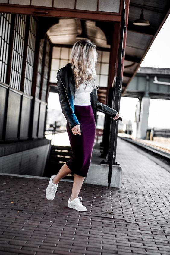 a white tee, a plum-colored pencil midi skirt, a black leather jacket and white sneakers