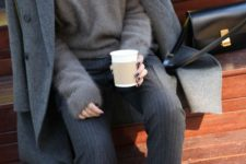16 striped grey pants, a grey angora sweater and a grey wood coat are an ideal example of fall layering