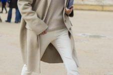 16 white denim, a neutral sweater, a neutral scarf and coat, white flats