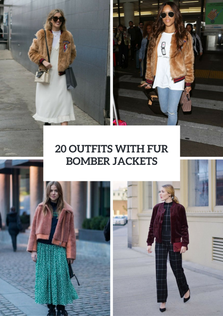 20 Feminine Outfits With Fur Bomber Jackets