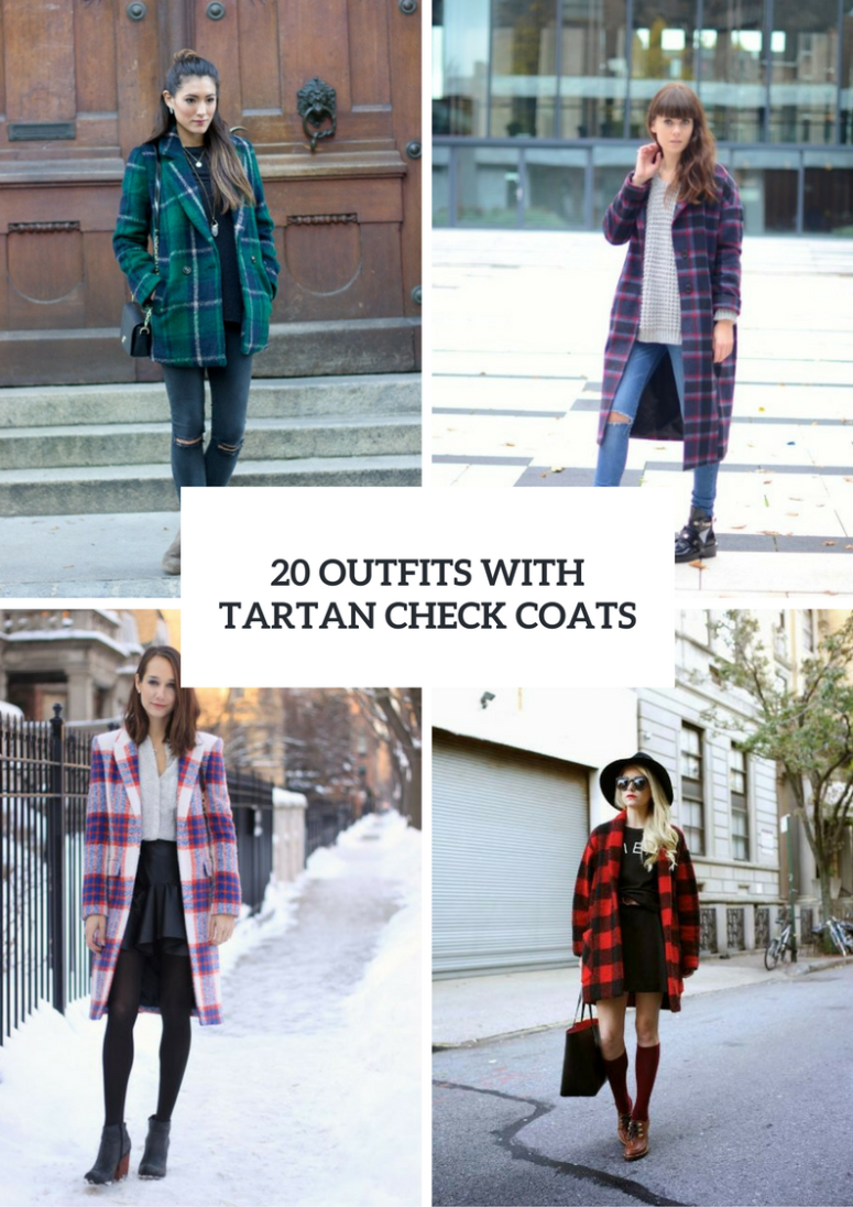 Outfits With Tartan Check Coats For Ladies