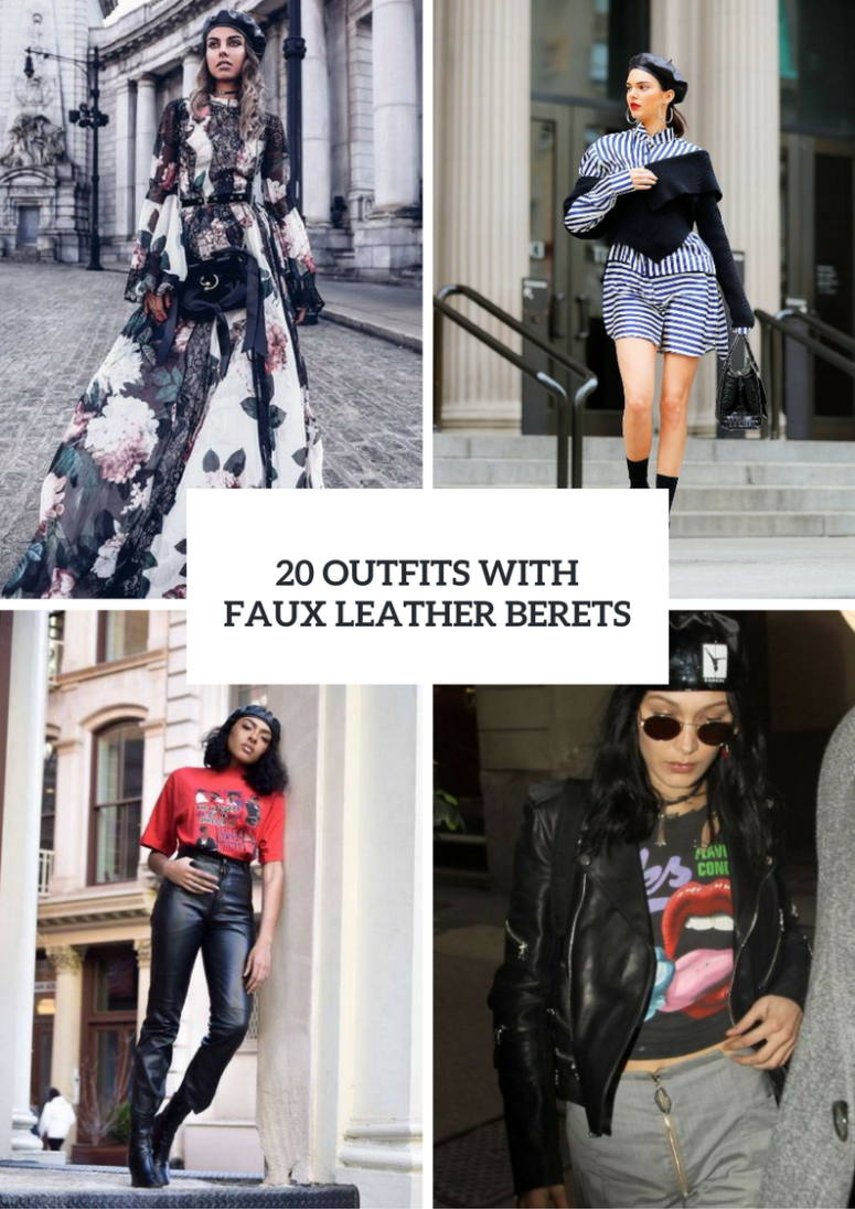 Women Outfits With Faux Leather Berets