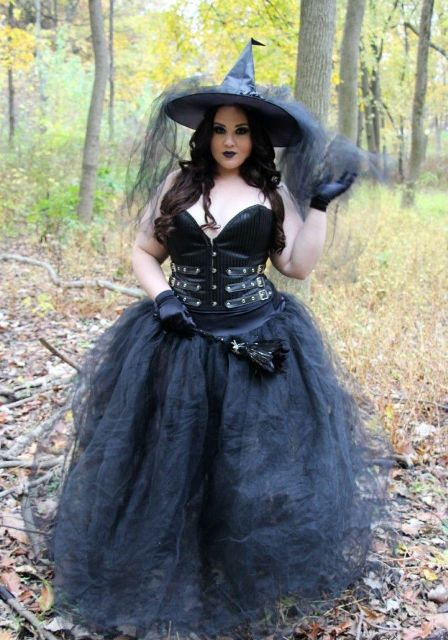 All black witch outfit with black corset gloves maxi skirt and hat  sc 1 st  Styleoholic & 20 Plus Size Halloween Costume Ideas - Styleoholic