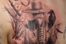 Bogey in hat and birds tattoo on the chest