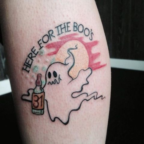 Funny ghost tattoo with phrase