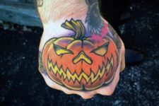 Funny orange pumpkin tattoo idea