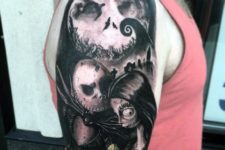 Halloween romance tattoo on the arm