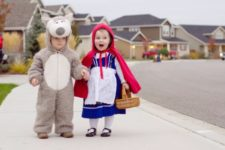 Little red riding hood and wolf costumes for boy and girl