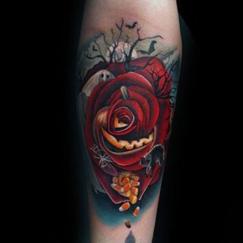 Red rose and white ghost tattoo