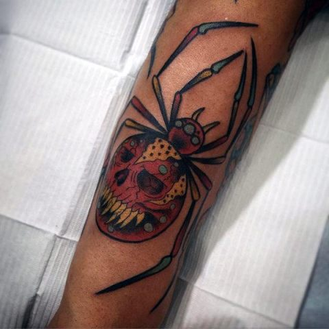 Spider with image of skull tattoo