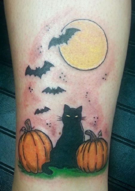 Picture of two pumpkins black cat full moon and bats tattoo for Bat moon tattoo