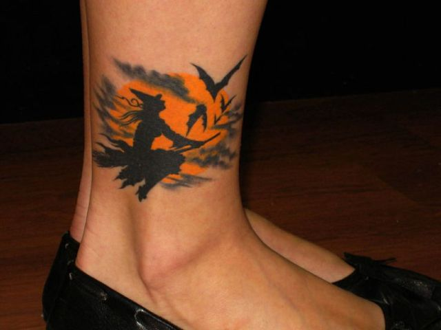 Picture of witch full moon and bats tattoo on the ankle for Bat moon tattoo