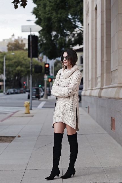 With beige sweater dress and bag