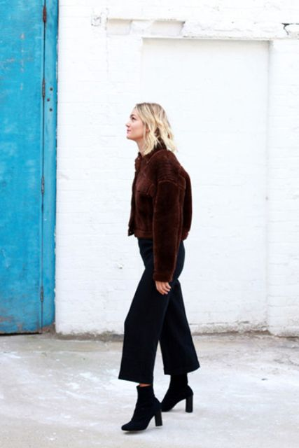 Picture Of With Black Culottes And Ankle Boots
