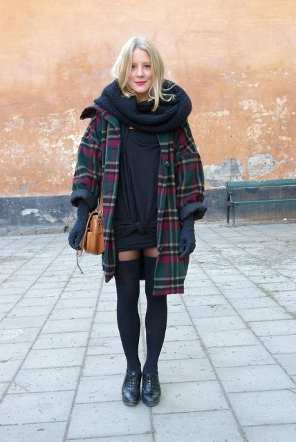 With black mini dress, oversized scarf, oxford shoes, gloves and brown small bag