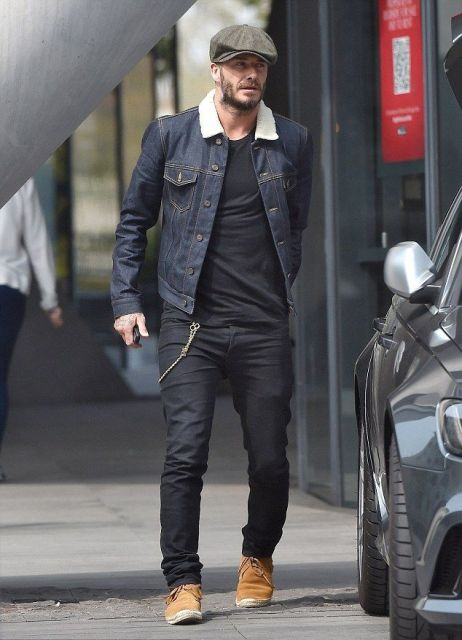 Picture Of With black shirt, black jeans, brown shoes and denim jacket