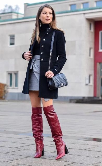 With black turtleneck, gray mini skirt, mini coat and black bag