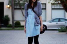 With blue dress, gray blazer and crossbody bag