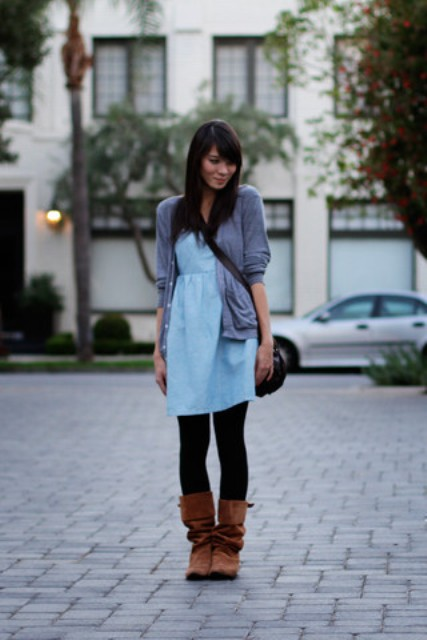 With blue dress, gray blazer and crossbody bag