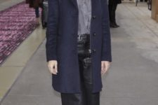 With button down shirt, navy blue cardigan and platform shoes
