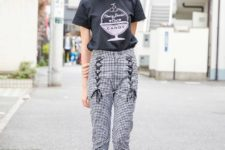 With cap, printed t-shirt and platform shoes