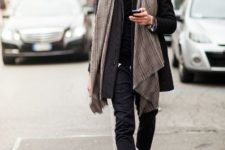 With checked scarf, coat, pants and boots