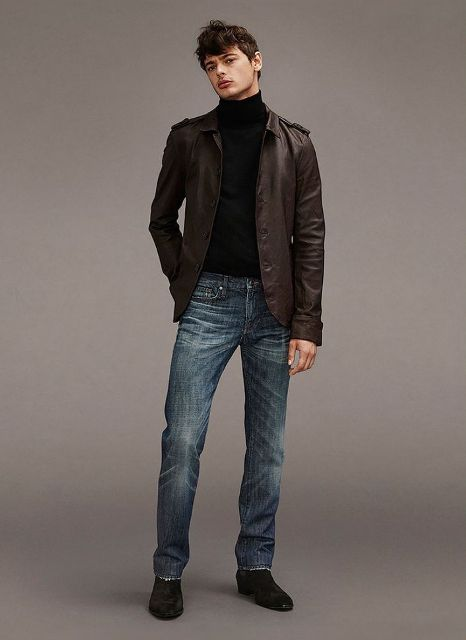 With dark brown leather jacket, jeans and black shoes